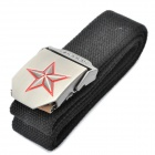 Stylish Canvas Belt with 3D Five-Pointed Star Logo Buckle - Black