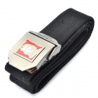 Stylish Canvas Belt with 3D Che Guevara Logo Buckle - Black