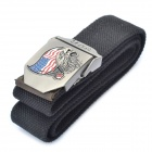 Stylish Canvas Belt with 3D USA Flag + Eagle Style Buckle - Black