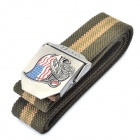 Stylish Canvas Belt with 3D USA Flag + Eagle Style Buckle - Army Green