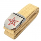 Stylish Canvas Belt with 3D Five-Pointed Star Buckle - Khaki