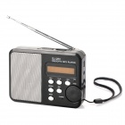 "1.5"" LED MP3 Player Speaker w/ FM Radio / Microphone / USB / TF / Line-In - Black"