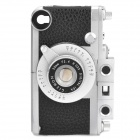 Vintage Leica Camera Style Protective PC + Leather Case for iPhone 4S - Black + Silver