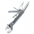 8-in-1 Multi-Function Wrench w/ Knife / Wood Saw / File / Opener / Screwdriver / Scissors - Silver