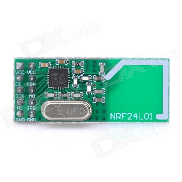 NRF24L01+ 2.4GHz Wireless Transceiver Module - DXTransmitters &amp; Receivers<br>Color: Green - Material: FR-1 - Max.Working frequency: 2MBPA - Maximum operating speeds up to 2Mbps GFSK modulation efficiency anti-interference ability particularly suitable for industrial control applications. - 125 Channels multi-point communication and frequency hopping to meet the communication needs. - Built-in hardware CRC error detection multi-point communication address control. - Low-power 1.9 ~ 3.6V only 1uA on power down mode. - Built-in 2.4Ghz antenna - Available software to set the address only received local address when output data(Provide interrupt instruction) can be directly connected to a variety of micro-controllers software programming is very convenient. - Built-in voltage regulator - Standard DIP Pitch Interface for embedded applications User Manual: http://m5.img.dxcdn.com/CDDriver/CD/sku.NRF24L01_126467.pdf<br>
