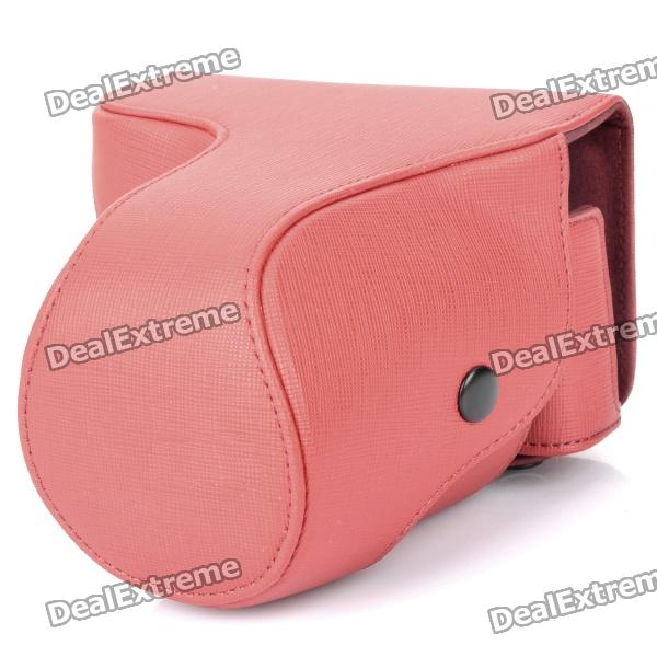 Protective Crazy Horse Leather Case for Sony NEX-7 - Red