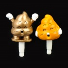 Funny Poo-Poo Style Anti-Dust Plug for 3.5mm Audio Jack - Yellow + Golden (Pair)