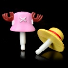 Luffy Straw Hat + Tony Tony Chopper Hat One Piece Style Anti-Dust Plug for 3.5mm Audio Jack (Pair)