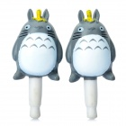 Cute Totoro Style Anti-Dust Plug for 3.5mm Audio Jack - Grey + White (Pair)