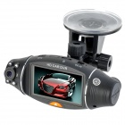 Car DVR Camcorder with Double Cameras / GPS Module / TF Slot - Black (2.7