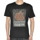 Apple Pattern Cotton Short Sleeve T-Shirt - Black (Size-L)