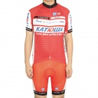 2012 Katusha Team Short Sleeve Cycling Bicycle Bike Riding Suit Jersey + Shorts Set (Size-L)