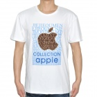 Apple Pattern Cotton Short Sleeve T-Shirt - White (Size-M)