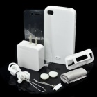 Simplism 8-in-1 Protective Case + Strap + Charger + Screen Protector Set for iPhone 4 / 4S - White