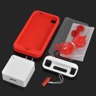 Simplism 8-in-1 Protective Case + Strap + Charger + Screen Protector Set for Iphone 4/4S - Red