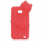 KiKi Cat Protective Back Case Cover + ARM Screen Protector for Samsung Galaxy s2/i9100 - Red