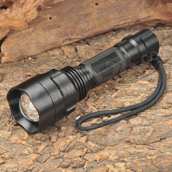 FANDY FIRE C18 White LED 5-Mode 140LM Convex Lens Flashlight w/ XR-E Q5 / AC/Car Charger (1x18650)