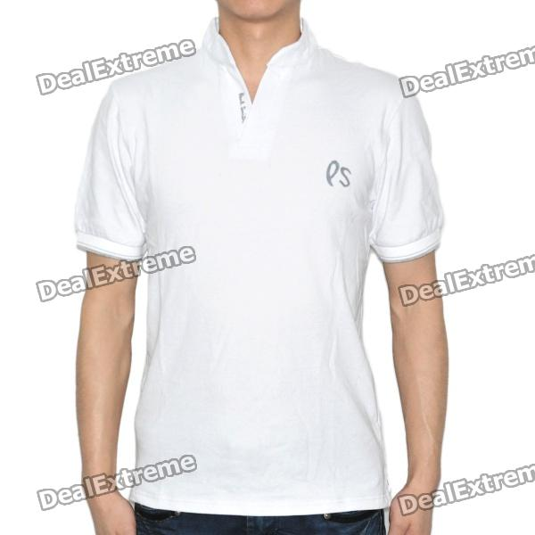 Fashion Short Sleeve Cotton T-Shirt - White (Size XL)