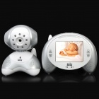 "2.4~2.48GHz Wireless 9-LED IR Night Vision Camera with 3.5"" LCD Baby Monitor - White + Silver"