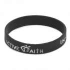 "Fashion Jeremy Lin Style ""in Jesus Name I Play"" Silicone Energy Bands Bracelet - Black"