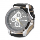 Stylish 1022G Electronic Movement Leather Band Quartz Wrist Watch - Black (LR626)