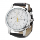 Stylish Electronic Movement Leather Band Wrist Watch - White + Deep Brown (LR626)