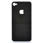 Decorative PU Leather Back Sticker + Screen Protector Guard Set for iPhone 4 / 4S - Black