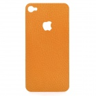 Decorative PU Leather Back Sticker + Screen Protector Guard Set for iPhone 4 / 4S - Brown
