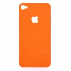 Decorative PU Leather Back Sticker + Screen Protector Guard Set for iPhone 4 / 4S - Orange