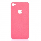 Decorative PU Leather Back Sticker + Screen Protector Guard Set for iPhone 4 / 4S - Pink