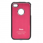 Protective Drawbench Style Aluminum Alloy Back Case for iPhone 4 / 4S - Red