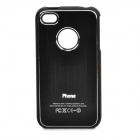 Protective Drawbench Style Aluminum Alloy Back Case for iPhone 4 / 4S - Black
