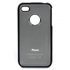 Protective Drawbench Style Aluminum Alloy Back Case for iPhone 4 / 4S - Silver Grey