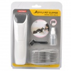 Electric Pet Hair Clipper Trimmer with Accessories Set - White (2 x AA)