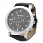 Stylish 1042G Electronic Movement Leather Band Quartz Wrist Watch - Black (LR626)