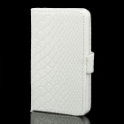 Protective PU Leather Cover Plastic Case for Iphone 4 / 4S - White