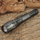 Cree XM-L T6 600LM 5-Mode White LED Zoom Flashlight - Black (2 x 18650)