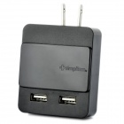 Genuine Simplism Sliding Power Adapter/Charger with Dual USB Ports - Black (100~240V/US Plug)