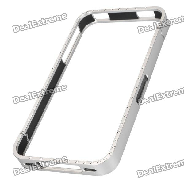 Protective Bumper Frame with Crystal for iPhone 4 / 4S - Silver