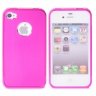 Protective Aluminum Magnesium Alloy Back Case for iPhone 4 / 4S - Deep Pink