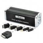 9000mAh Mobile External Power Battery Pack w/ Flashlight & Charging Adapters - Black