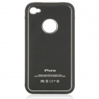 Protective Aluminum Alloy Wiredrawing Back Case w/ Screen Guard & Cloth for iPhone 4 / 4S - Black