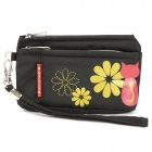 Fashionable Animob Pattern Dual-Compartment Mobile Phone Carrying Bag/Pouch with Strap - Black