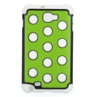 Polka Dots Pattern Protective Back Case for Samsung Galaxy Note i9220 - Green + White + Black