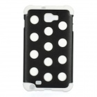 Polka Dots Pattern Protective Back Case for Samsung Galaxy Note i9220 - White + Black