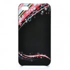 PISEN Protective PC Back Case with Flowers Pattern for iPhone 4 - Black