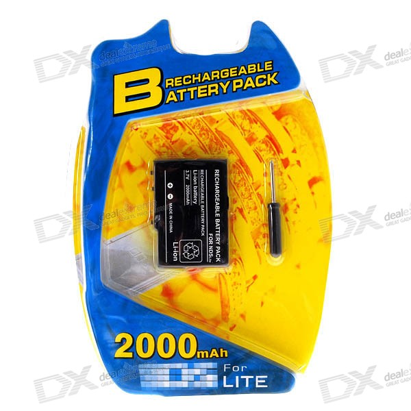 2000mAh Rechargeable Lithium Battery Pack for NDS Lite with Screwdriver