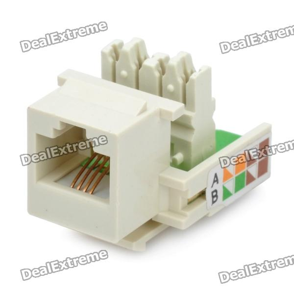 RJ11 Telephone Snap-In Modular Jack Module - White