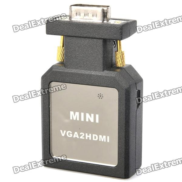 Mini VGA to HDMI Converter + VGA Male to Female Cable Set - Black