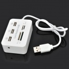 USB 2.0 3-Port Hub + MS / MS PRO DUO / SD / MMC / M2 / Micro SD Card Reader Combo - Blanco